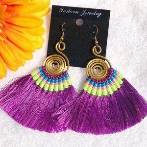 Boho Earrings Fan Tassel Hoop Drop Dangles Purple
